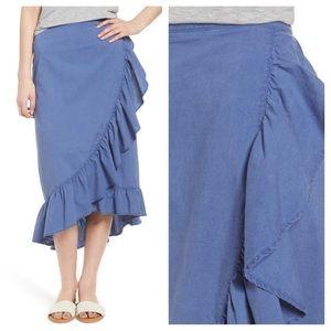 hinge Angelite Ruffled Midi Skirt